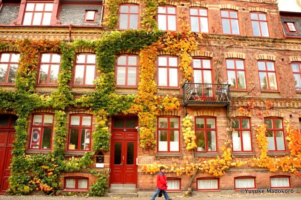 紅葉するスウェーデン、ルンドの街