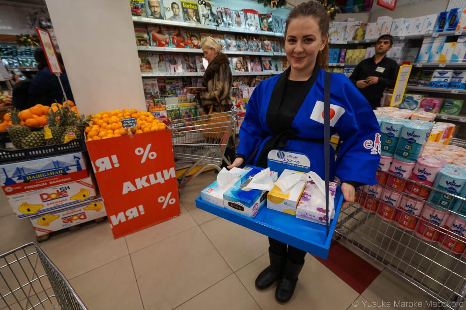 ウラジオストクで日本製ティッシュの販促